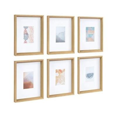 【並行輸入品】Kate and Laurel Calter Framed Under Glass Modern Abstract Multicolored Art Prints, Natural Finish Frame, 6 Piece Set