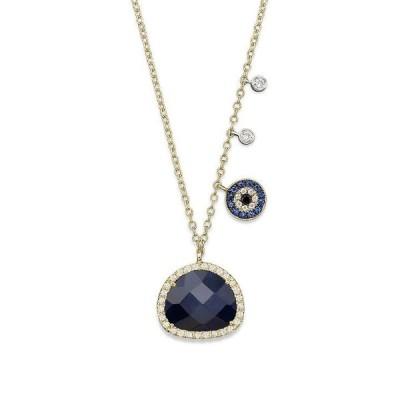メイラティ レディース ネックレス・チョーカー アクセサリー 14K Yellow Gold Sapphire Evil Eye Disc Necklace with 14K White Gold Side Bezels 16