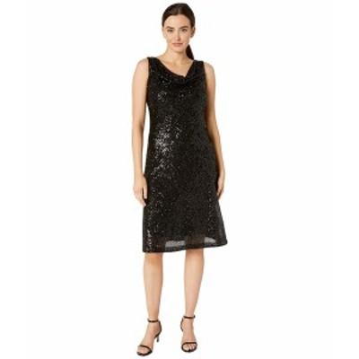 テイラー レディース ワンピース トップス Sleeveless Cowl Neck Sequin Dress Black
