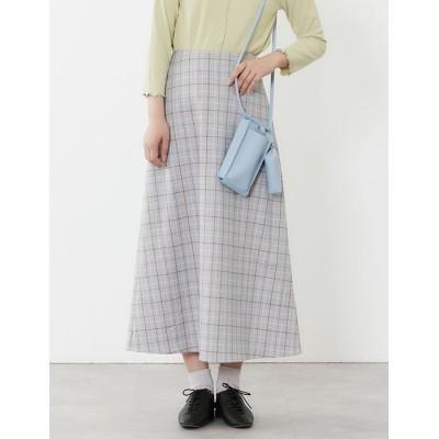 【プードゥドゥ】 チェックAラインスカート レディース ブルー M POU DOU DOU