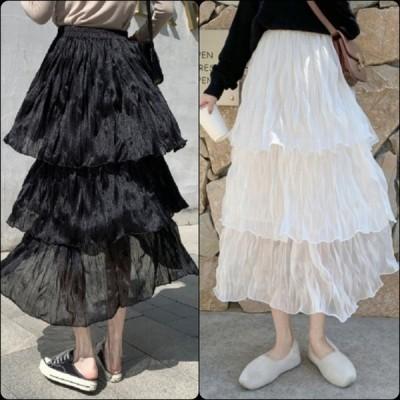 カジュアル系 3段フリルのロングスカート シフォンスカート 透け感 ウェストゴム Aライン・フレア 春 お出かけ
