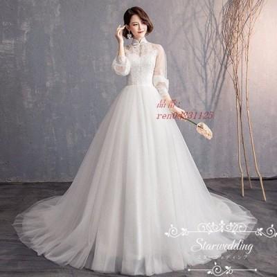 挙式 花嫁 プリンセスラインドレス 大きいサイズ 二次会 結婚式 安い 袖あり ドレス ウェディグドレス長袖 ウェディグドレス トレーン