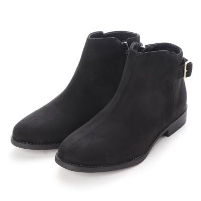 SFW サンエープラスフェミニン AAA+ feminine 美シルエット、履き心地やわらかベルト付きブーツ/3591 (ブラックスエード)