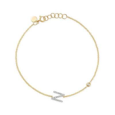 ゾエレフ レディース ブレスレット・バングル・アンクレット アクセサリー 14K Yellow Gold Diamond Initial & Bezel Bracelet