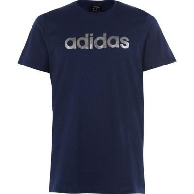 アディダス adidas メンズ Tシャツ トップス Linear Foil T-Shirt Navy/Silver