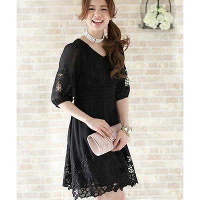 ドレス 花柄カットワークワンピースドレス大きいサイズミニ丈&七分袖フォーマル