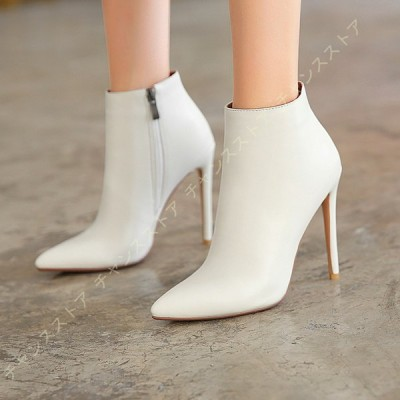 レディース ブーツ ショートブーツ レザー 日常 ハイヒール ブーティ 履き心地 シンプル 秋冬靴 ピンヒール 着痩せ シンプル ソフトクッション 靴 サイドジッパ