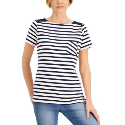 ケレンスコット カットソー トップス レディース Cotton Striped Boat-Neck Top, Created for Macy's Intrepid Blue