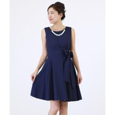 ドレス ネックレス付き リボン ワンピースドレス