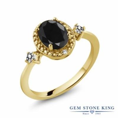 指輪 リング レディース 1.8カラット 天然 ブラックサファイア ダイヤモンド シルバー925 イエローゴールドコーティング 大粒 ヘイロー