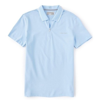 カルバンクライン メンズ ポロシャツ トップス Performance Stretch Quarter-Zip Short-Sleeve Polo Shirt Cerulean