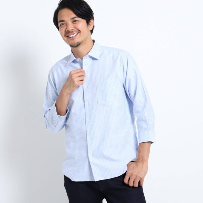 タケオ キクチ TAKEO KIKUCHI ドビードット刺し子7分袖シャツ (ライトブルー)
