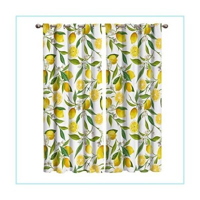 新品Shine-Home Window Curtains with Gromments Kitchen Drapes, Yellow Lemons Natural Furit and Green Leaves Pattern, 2 Panels Window Treatm