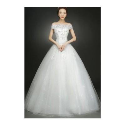 二点送料無料オフショル豪華なウェディングドレス Aライン エンパイア 結婚式.演奏会.二次会 フォーマルパーティードレスベルラインドレス白赤パニエ付き