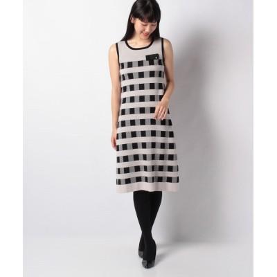 【ミス ジェイ】 ハノン チェックジャカードニットドレス レディース ベージュ 38 MISS J