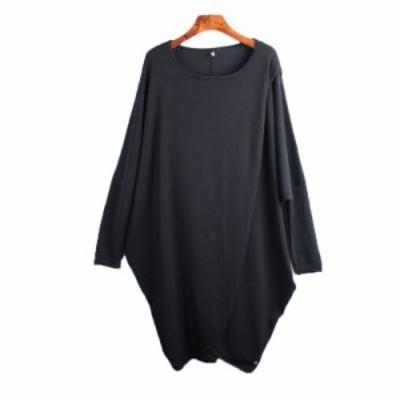 秋物新作 ロング セーター チュニック プルオーバー ゆったり MH0075