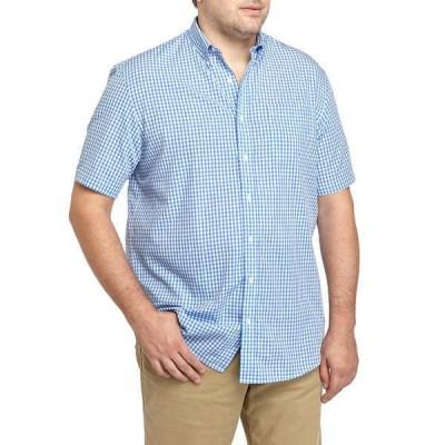 サドルブレッド シャツ トップス メンズ Big & Tall Easy Care Short Sleeve Poplin Plaid Woven Shirt -