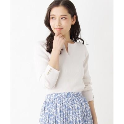OPAQUE.CLIP / 【洗える】キーネックリブニット WOMEN トップス > ニット/セーター