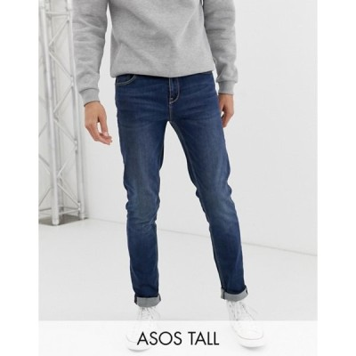 エイソス メンズ デニムパンツ ボトムス ASOS DESIGN Tall skinny jeans in dark wash