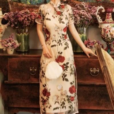 ワンピース ロングワンピース チャイナドレス 花柄 半袖 スリット シースルー レトロ おしゃれ フェミニン 二次会 OP-0090-s
