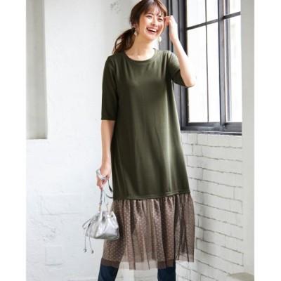 【大きいサイズ】 ドットチュールドッキングカットソーワンピース(オトナスマイル) ワンピース, plus size dress
