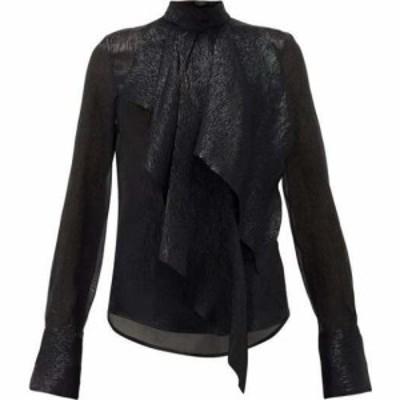 ペーター ペトロフ Petar Petrov レディース ブラウス・シャツ トップス Cynthia draped silk-blend lame blouse Black