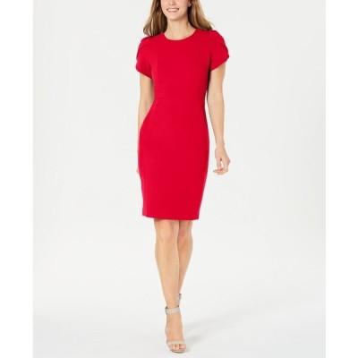 カルバンクライン ワンピース トップス レディース Tulip-Sleeve Sheath Dress Red