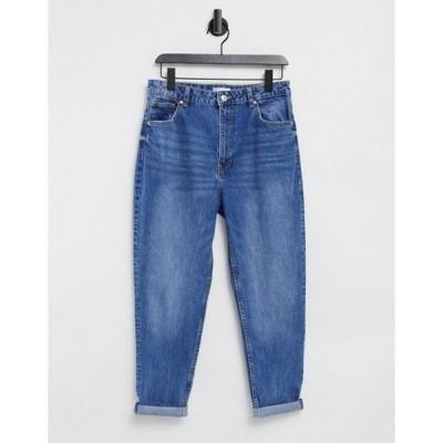 ベルシュカ レディース デニムパンツ ボトムス Bershka organic cotton mom jeans in medium blue
