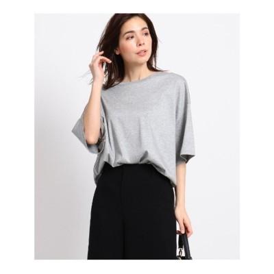 インディヴィ INDIVI 【Lサイズ別注/マシンウォッシュ】スムースクルーネックTシャツ (グレー)