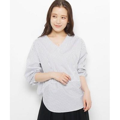 <MODIFY(Women)/モディファイ> バックボリュームストライプシャツ シロ【三越伊勢丹/公式】