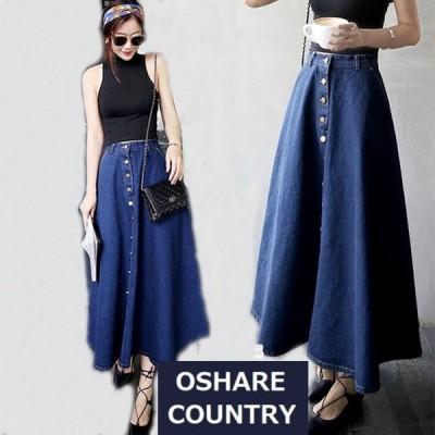 【 400円OFFクーポン有 】 ボトムス スカート ロングスカート レディース 大きいサイズ 体型カバー 韓国 ファッション デニム