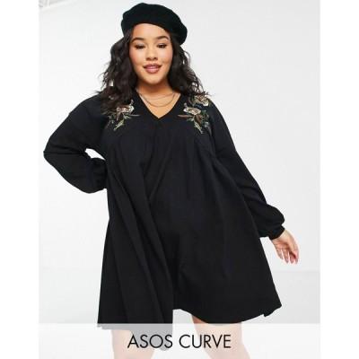 エイソス ASOS Curve レディース ワンピース Vネック ミニ丈 ASOS DESIGN Curve mini dress with v neck and floral embroidery detail ブラック