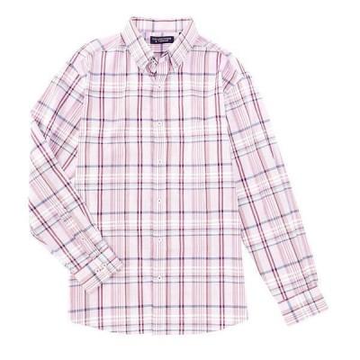 ランドツリーアンドヨーク メンズ シャツ トップス Luxury Cotton Long-Sleeve Large Plaid Sportshirt Wineberry