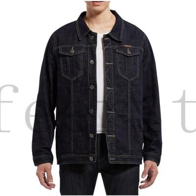 デニムジャケットメンズおしゃれブランド無地柄黒ジャケットGジャンデニムアウタートップス大きいサイズ8140代50代