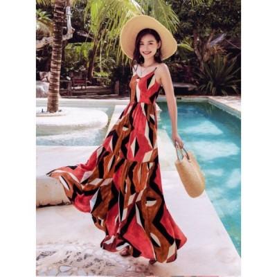 春夏 ドレス サマードレス ロングドレス ワンピース ビーチワンピース 迷彩 エレガント カジュアル
