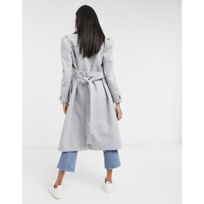 リバーアイランド レディース コート アウター River Island puff sleeve belted robe coat in light gray LIGHT GREY