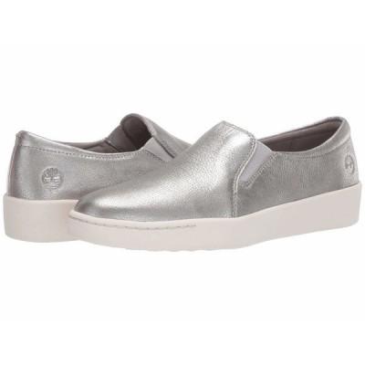 ティンバーランド スニーカー シューズ レディース Teya Slip-On Silver Full Grain Leather