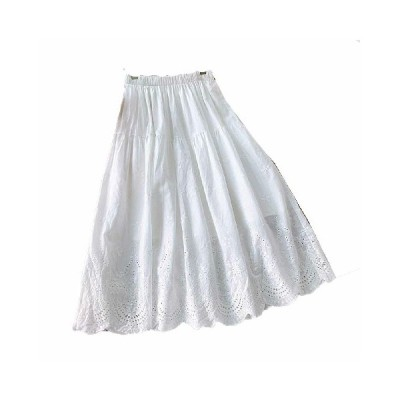 レディース 大人 フレアスカート aライン コットン ロング 刺繍 カービング 裏地付き 透けない 無地 純粋 ピュア 北欧 ふんわり シンプル 優雅