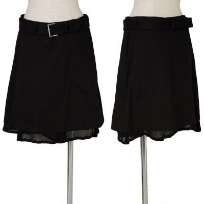 ワイズY's コットンレイヤードショート巻きスカート 黒2 【レディース】
