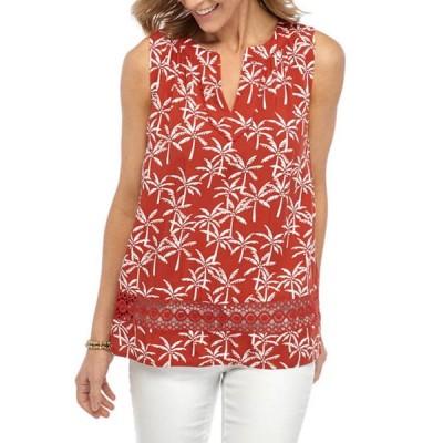 クラウン&アイビー レディース タンクトップ トップス Women's Sleeveless Crochet Printed Peasant Top