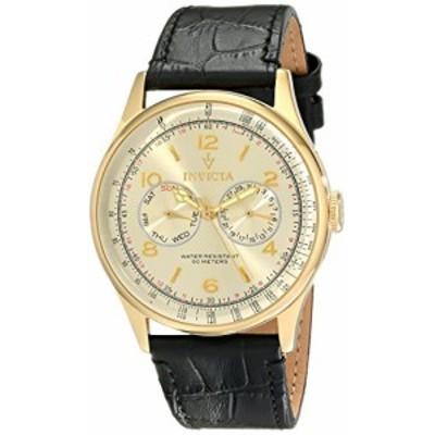 Invicta Men aposs 6750ィンテージLight Gold Tone Dial Black Leather Watch