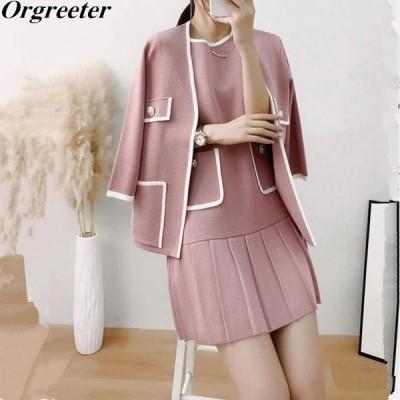 2020年秋新しいニットコートとドレス2ピースセット女性の優雅なOネック3/4スリーブニットジャケット、ショートプリーツベストドレス