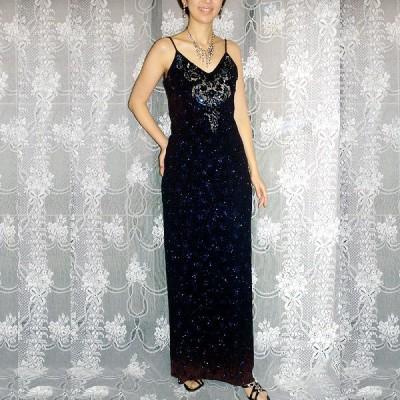 パーティードレス [ストレッチラメ布地&華やかなスパンコールのロングドレス] LL-003
