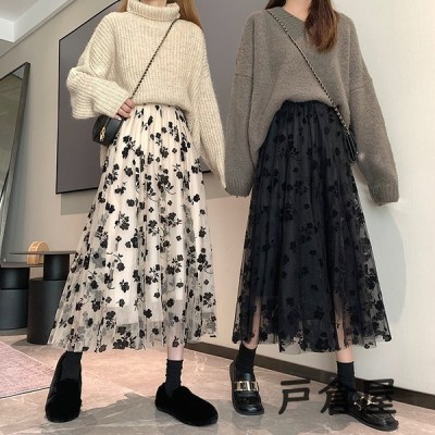 2021スカート 40代 ロング マキシ丈 レディース ひざ丈 花柄 ロングスカート ボトムス シアー チュールスカート 30代 50代 体型カバー ゆったり 大人 可愛い