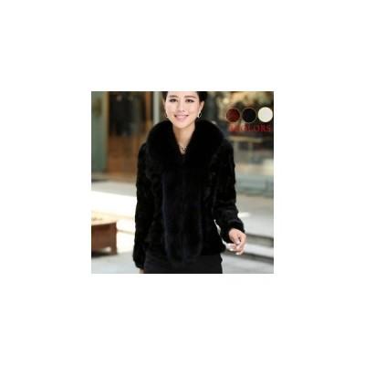ファーコート 毛皮コート レディース ショートコート 厚手 ファー襟 ファー付き 防寒 おしゃれ 暖かい アウター