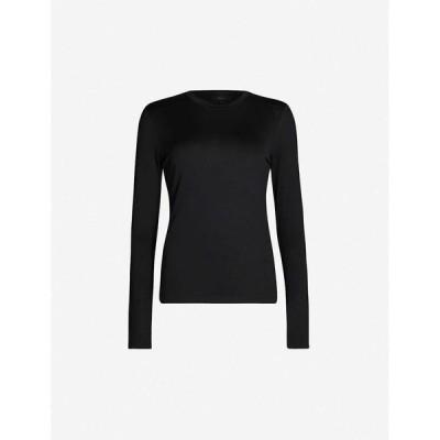 セオリー THEORY レディース 長袖Tシャツ トップス Tiny Tee cotton-jersey T-shirt BLACK