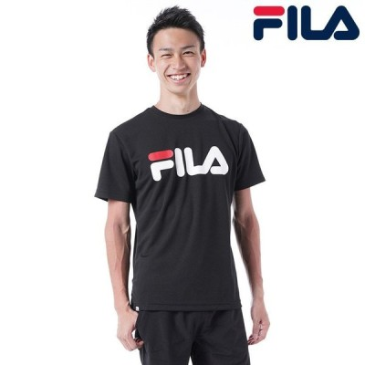 フィラ FILA 日本正規品 メンズ トップス メッシュ ロゴ 半袖 Tシャツ スポーツ素材 ビックロゴ デザインMIX 吸水速乾 UVケア 汎用性 動きやすい ブラック