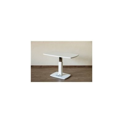 ds-2078844 昇降式 ダイニングテーブル 【幅105cm×奥行60cm ホワイト】 フットペダル付き スチール 〔リビング 部屋〕【代引不可】 (ds2078844)