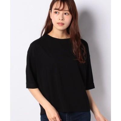 koe 袖折り返し半袖カットプルオーバー(ブラック)【返品不可商品】
