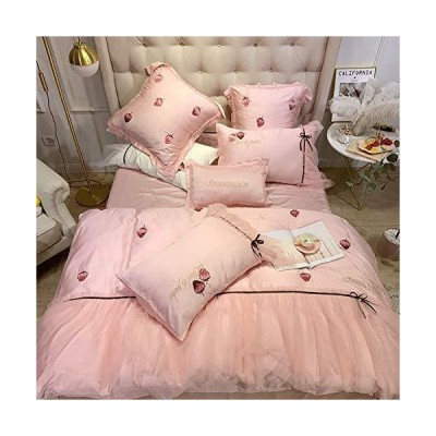 RuiXia YCC 4 Pieces of Luxury Quilt Bedding, Pure Satin Silk Bedding, Polyester Quilt Cover Sheets, Pillowcase, White/Pink (Color : Pink, Si